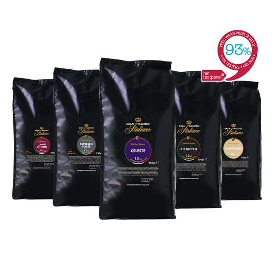 Koffiebonen proefpakket - Gran Maestro Italiano - Zuid Italië Krachtig & Intens - 1.25kg