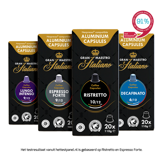 Capsules voor nespresso compatibel proefpakket - Gran Maestro Italiano - Oriëntatie - 80 cups