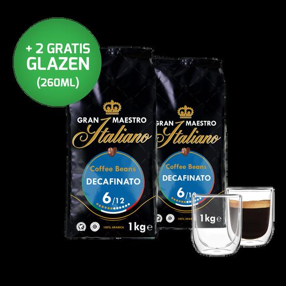 Voordeelpakket Grand Maestro Italiano - cafeïnevrij koffiebonen (2 kg) en 2 luxe dubbelwandige glazen