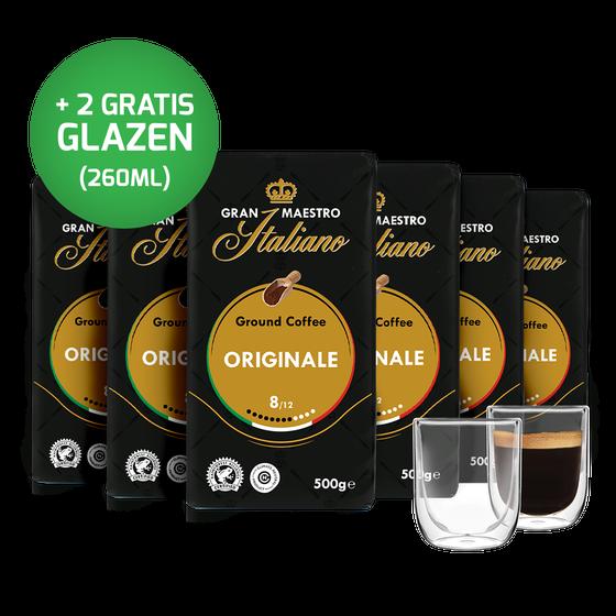 Voordeelpakket Gran Maestro Italiano - filterkoffie (6 x 500 gr) en 2 luxe dubbelwandige glazen