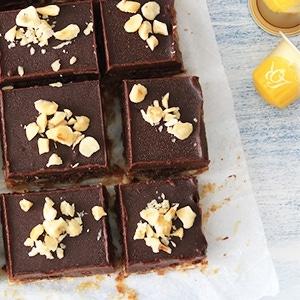 Fudge bars met chocolade en koffie