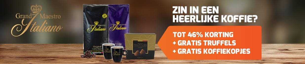 Grand Maestro Italiano koffie met gratis koffiekopjes & overheerlijke truffels